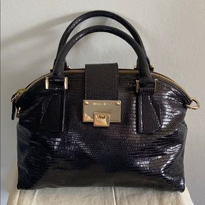 Jimmy Choo Lizard Embossed Rosa Leather Satchel
